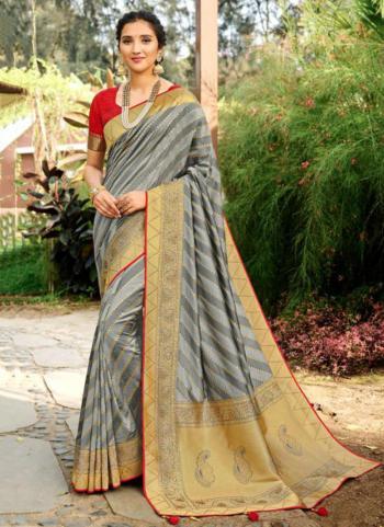 Wedding Wear Grey Weaving Silk Saree