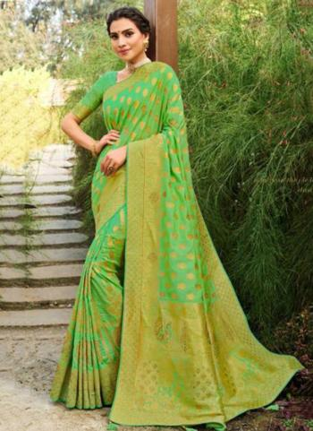 Wedding Wear Light Green Weaving Silk Saree