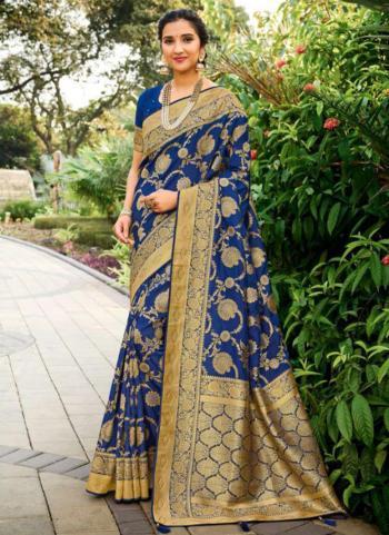 Wedding Wear Navy Blue Weaving Silk Saree