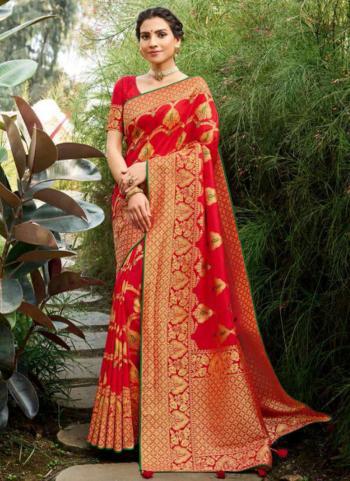 Wedding Wear Red Weaving Silk Saree