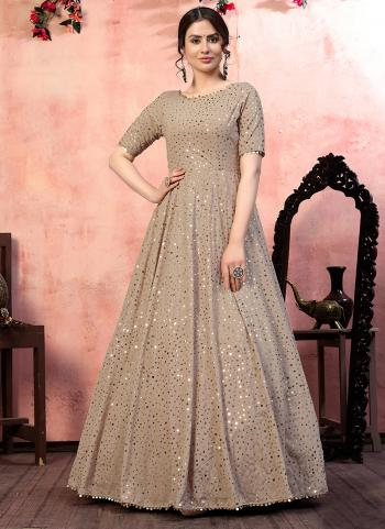 Party Wear Beige Sequins Work Georgette Gown With Dupatta