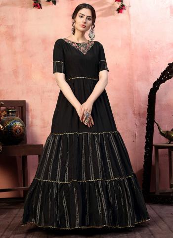 Party Wear Black Zari Weaving Silk Gown With Dupatta