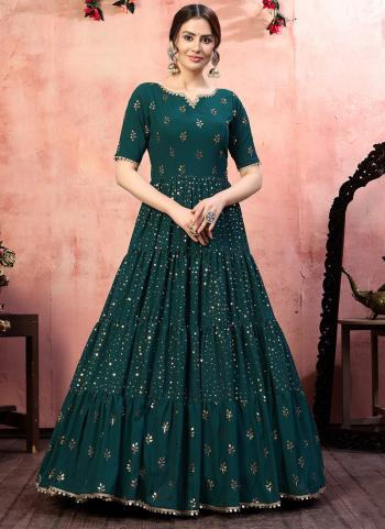 Party Wear Green Sequins Work Georgette Gown With Dupatta