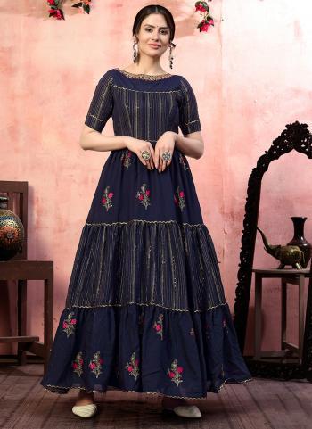 Party Wear Navy Blue Thread Work Silk Gown With Dupatta