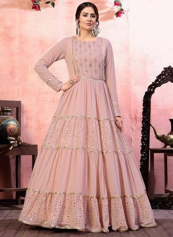 Party Wear Pink Sequins Work Georgette Gown With Dupatta