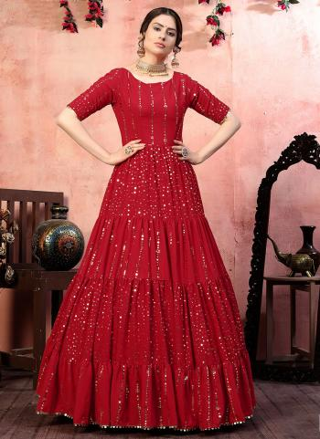 Party Wear Red Sequins Work Georgette Gown With Dupatta