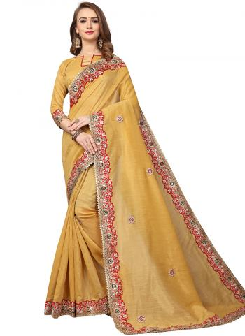 Party Wear Beige Zari Resham Work Cotton Silk Saree