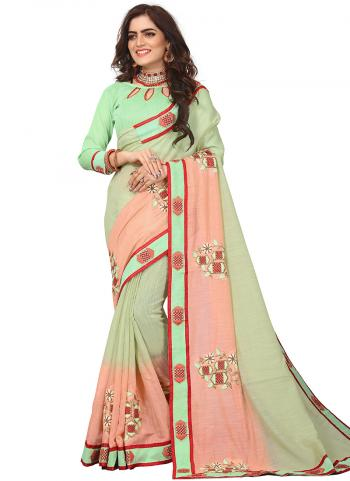 Party Wear Light Green Zari Resham Work Art Silk Saree