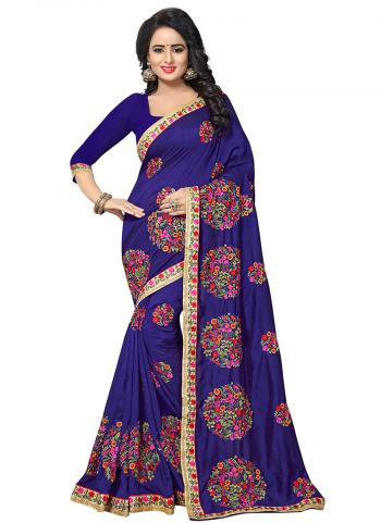 Party Wear Navy Blue Zari Resham Work Vichitra Silk Saree
