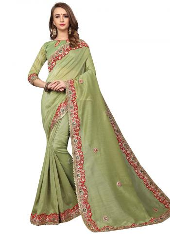 Party Wear Pista Green Zari Resham Work Cotton Silk Saree