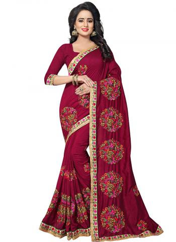 Party Wear Red Zari Resham Work Vichitra Silk Saree