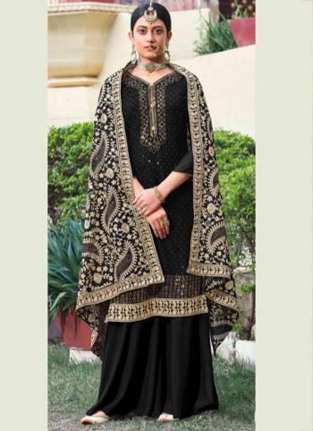 Festival Wear Black Diamond Work Georgette Palazzo Suit