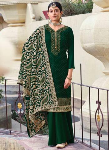 Festival Wear Green Diamond Work Georgette Palazzo Suit
