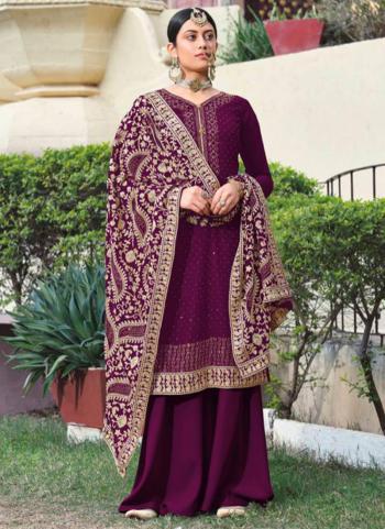 Festival Wear Purple Diamond Work Georgette Palazzo Suit