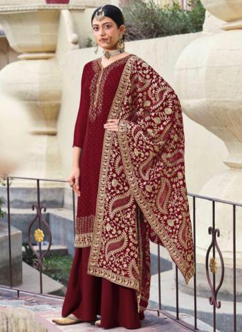 Festival Wear Red Diamond Work Georgette Palazzo Suit