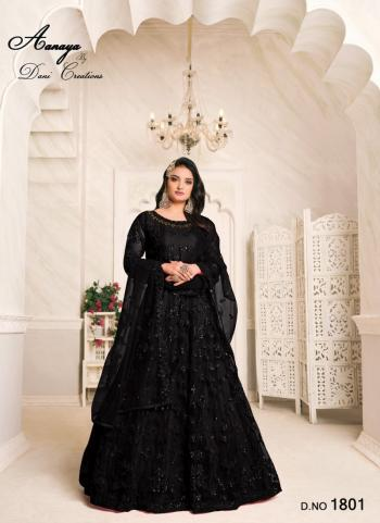 Wedding Wear Black Embroidery Work Net Anarkali Suit