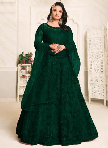 Wedding Wear Green Embroidery Work Net Anarkali Suit