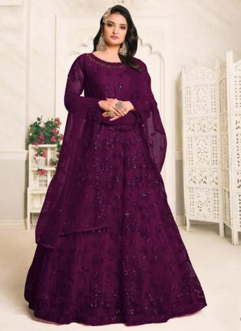 Wedding Wear Purple Embroidery Work Net Anarkali Suit