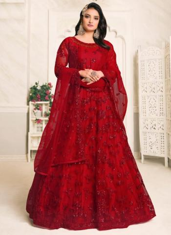 Wedding Wear Red Embroidery Work Net Anarkali Suit