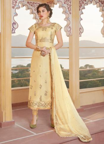 Party Wear Beige Embroidery Work Pure Chanderi Churidar Suit