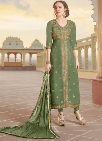 Party Wear Green Embroidery Work Pure Chanderi Churidar Suit