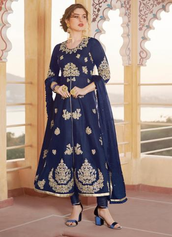 Party Wear Navy Blue Embroidery Work Pure Chanderi Churidar Suit