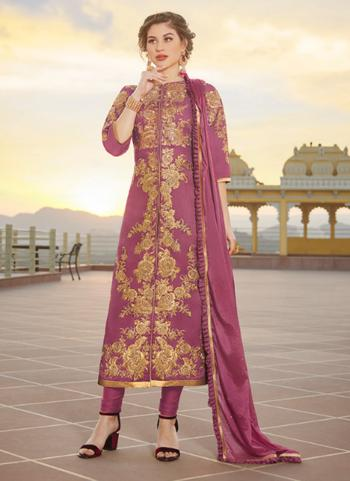 Party Wear Purple Embroidery Work Pure Chanderi Churidar Suit