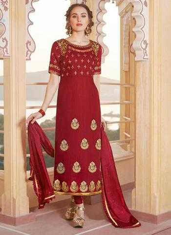 Party Wear Red Embroidery Work Pure Chanderi Churidar Suit