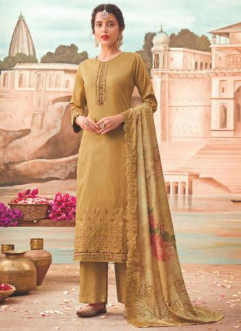 Traditional Wear Beige Embroidery Work Jam Silk Palazzo Suit