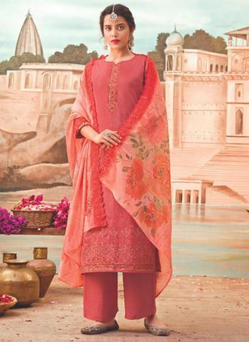 Traditional Wear Pink Embroidery Work Jam Silk Palazzo Suit