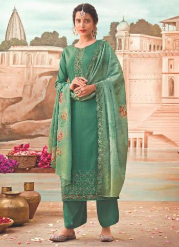 Traditional Wear Teal Green Embroidery Work Jam Silk Palazzo Suit