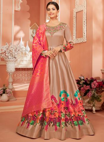 Festival Wear Beige Embroidery Work Monga Satin Silk Anarkali Suit