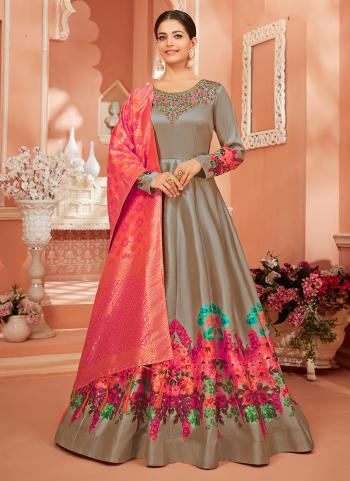 Festival Wear Grey Embroidery Work Monga Satin Silk Anarkali Suit