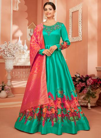 Festival Wear Teal Blue Embroidery Work Monga Satin Silk Anarkali Suit