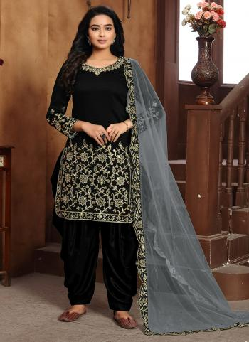 Festival Wear Black Embroidery Work Art Silk Patiyala Suit