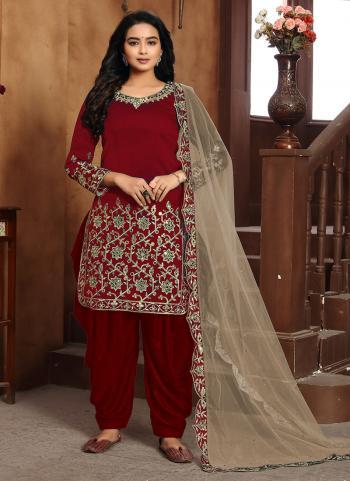 Festival Wear Maroon Embroidery Work Art Silk Patiyala Suit