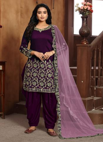 Festival Wear Purple Embroidery Work Art Silk Patiyala Suit