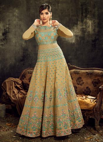 Wedding Wear Beige Embroidery Work Slub Silk Anarkali Suit