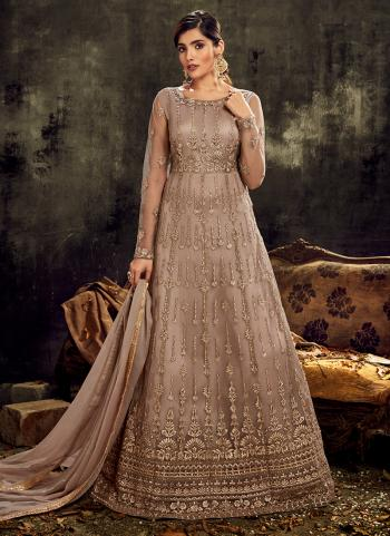 Wedding Wear Brown Embroidery Work Net Anarkali Suit
