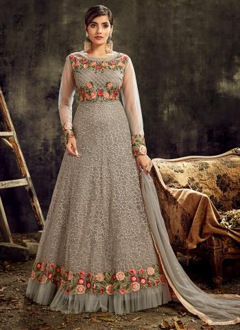 Wedding Wear Grey Embroidery Work Net Anarkali Suit