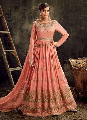 Wedding Wear Pink Embroidery Work Upada Silk  Anarkali Suit