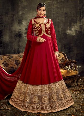 Wedding Wear Red Embroidery Work Georgette Anarkali Suit