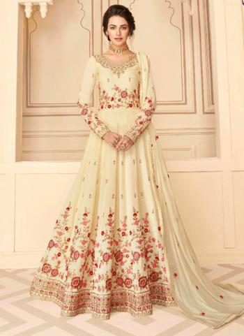 Festival Wear Cream Embroidery Work Pure Silk Anarkali Suit