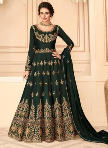 Festival Wear Dark Green Embroidery Work Pure Silk Anarkali Suit