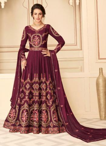 Festival Wear Purple Embroidery Work Pure Silk Anarkali Suit