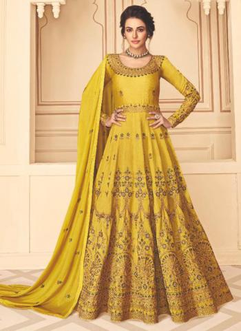 Festival Wear Yellow Embroidery Work Pure Silk Anarkali Suit