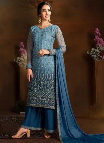 Wedding Wear Blue Heavy Embroidery Work Butterfly Net Palazzo Suit