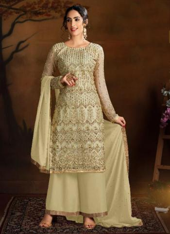 Wedding Wear Cream Heavy Embroidery Work Butterfly Net Palazzo Suit
