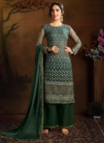 Wedding Wear Dark Green Heavy Embroidery Work Butterfly Net Palazzo Suit