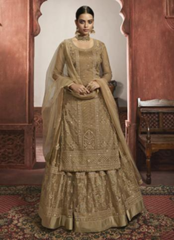 Wedding Wear Beige Embroidery Work Net Lehenga Suit